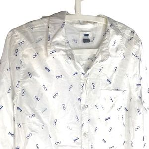 Eyeglass print White Cotton Button Down